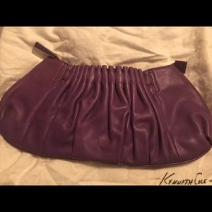 Kenneth Cole Leather Clutch- Purple